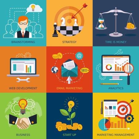 Illustration pour Vecteur plat concepts d'affaires et de finance. Eléments de conception pour applications web, mobiles . - image libre de droit