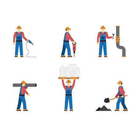 Illustration pour Travailleur de la construction silhouettes icônes plat ensemble vecteur isolé - image libre de droit