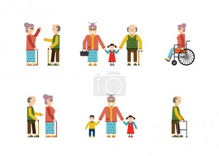 Photo for Older People In Different Situations Isolated On White Background Vector Illustration - Royalty Free Image