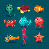 Cartoon marine animals
