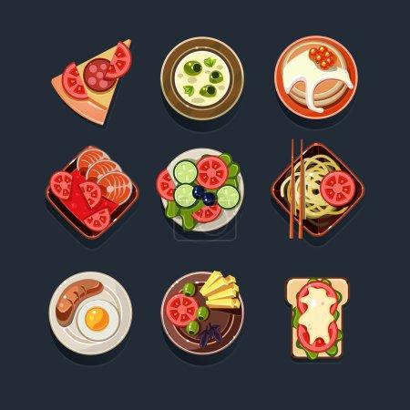 Illustration pour Ensemble icône plats alimentaires - image libre de droit