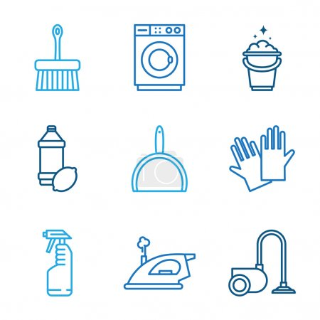Illustration for Linear Cleaning icons on white background - Royalty Free Image