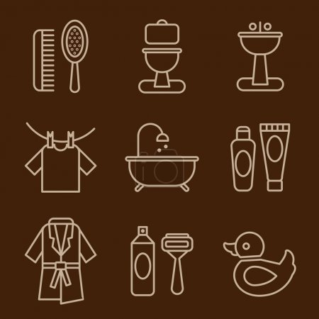 Cleaning icons on brown