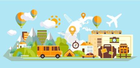Illustration for Travel icons set  flat style - Royalty Free Image