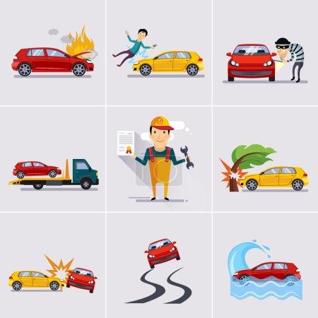 Illustration pour Icônes de voiture en couleur Assurance - image libre de droit