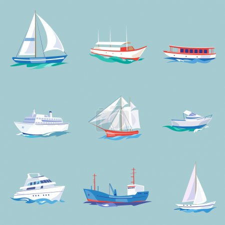 Illustration for Super set of water carriage and maritime transport in modern flat design style. Ship, boat, vessel, warship, cargo ship, cruise ship, yacht, wherry, hovercraft. Isolated on blue background - Royalty Free Image