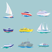 Super set of water carriage and maritime transport in modern flat design style Ship boat vessel warship cargo ship cruise ship yacht wherry hovercraft Isolated on blue background