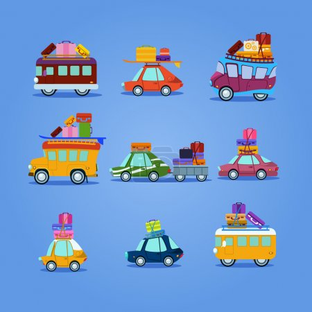 Illustration for Travel cars with bags icons set - Royalty Free Image