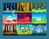 Set of seamless cartoon landscapes for game design horizontal nature background