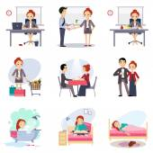 Work and and free time combination flat icons set abstract vector isolated