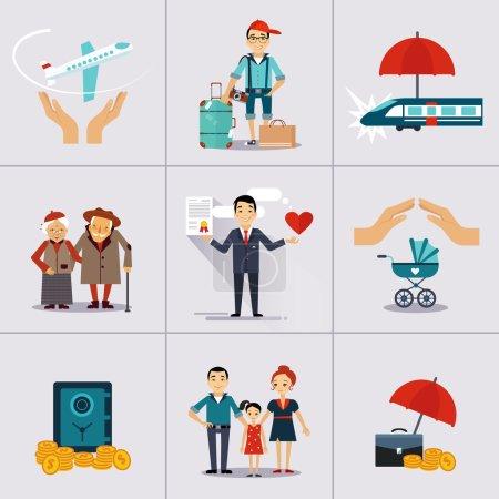 Illustration pour Icônes d'assurance réglées. Illustration vectorielle . - image libre de droit