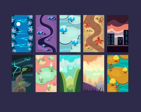 Set of seamless cartoon landscapes