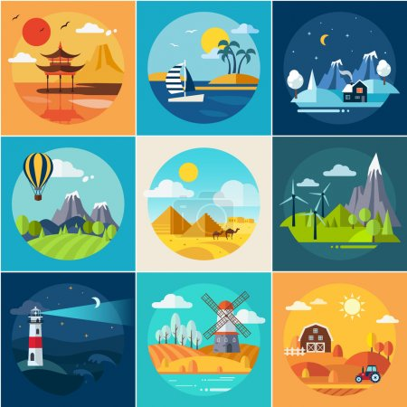 Illustration for Set of different landscapes in the flat style vector - Royalty Free Image