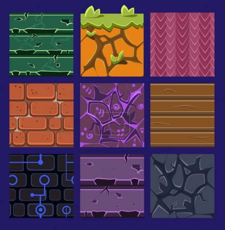Different materials and textures for the game. Vec...