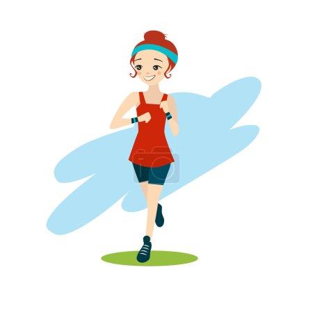 illustration of a Beautiful Cartoon Girl Running