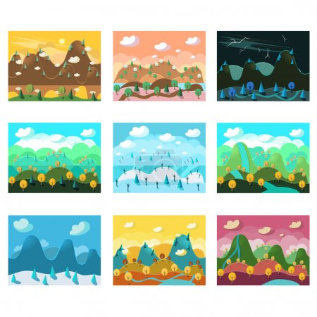 Photo for Game background Vector seamless Landscape set - Royalty Free Image