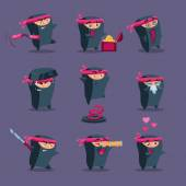 Ninja cartoon mascot set