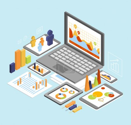 Illustration for Flat 3d isometric business finance analytics, chart graphic report on tablet web infographic concept vector. Hourglass calculator money coins documents and collage on tablet. Stylish website banner. - Royalty Free Image