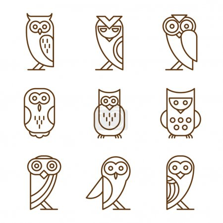 Photo for Barn linear owls - linear vector hand drawing - Royalty Free Image