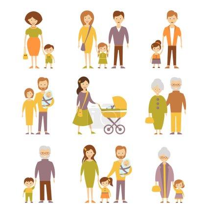 family flat icons set