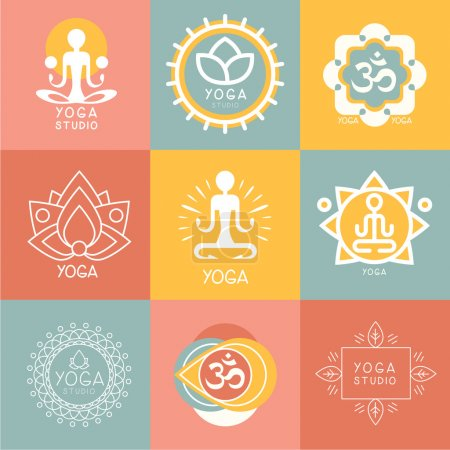 Photo for Vector yoga icons and round line badges - graphic design elements in outline style or logo templates for spa center or yoga studio - Royalty Free Image