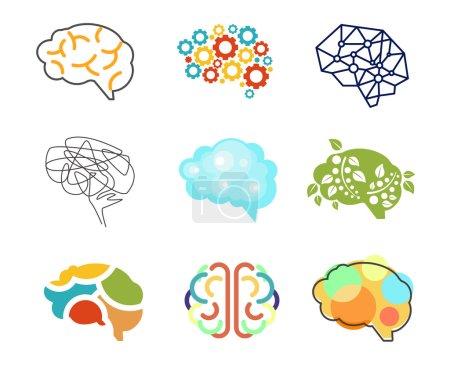 Brain icons. Vector art.