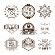 Vector hand made label in outline trendy style - h...