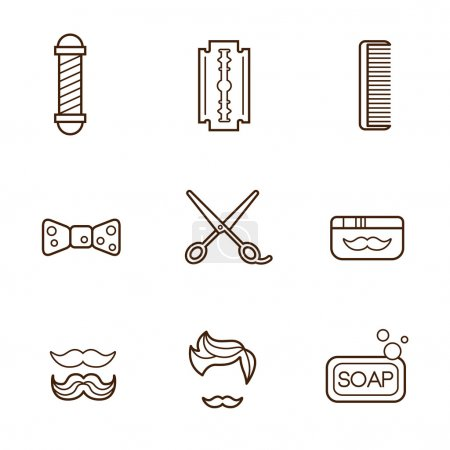 Photo for Barber Icons set on white background - Royalty Free Image