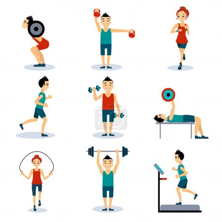 Illustration for Sport and leisure people activities icons set isolated vector illustration - Royalty Free Image
