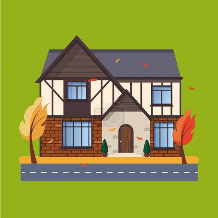 Illustration for Colorful Flat style Residential House vector illustration - Royalty Free Image