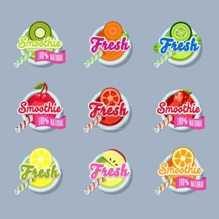 Photo for Set sticers smoothie with ribbon and freshes vector - Royalty Free Image
