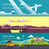 Colourful vector flat banner set for your business web sites etc Quality design illustrations elements and concept Journey by car Fans club trailering Trip to Europe