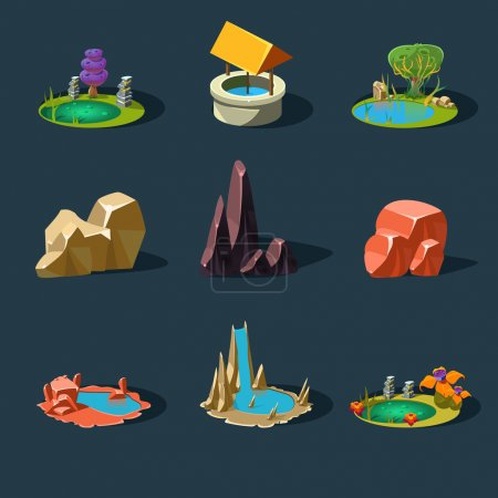 Elements Landscape ,Rocks ,Water Well ,Waterfall ,Lake, Vector I