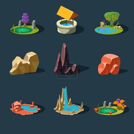 Illustration for Elements landscape vector illustration for games - Royalty Free Image