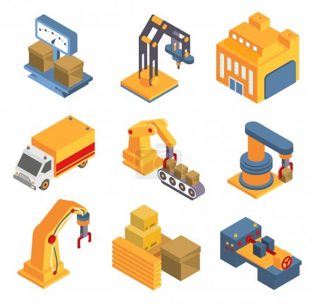 Illustration for Isometric factory flowchart with robotic machinery symbols and arrows vector illustration - Royalty Free Image