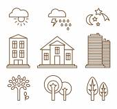 Vector of linear icons with buildings houses and architecture signs - design elements for city illustration or map