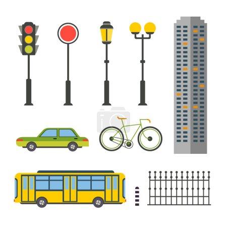 Illustration for Design elements for city illustration or map vector flat - Royalty Free Image