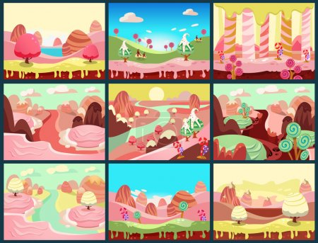 Illustration for Cartoon fairy tale landscape. Candy land illustration for game background - Royalty Free Image