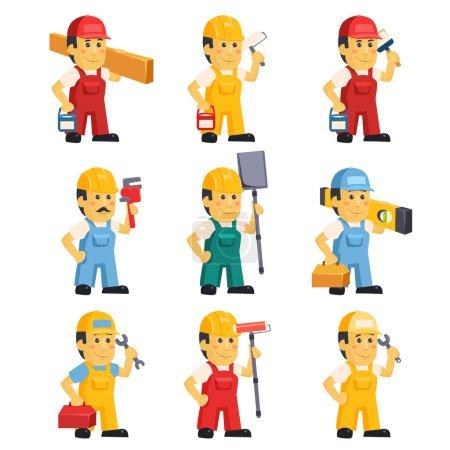 Illustration pour Technicien, travaillant un ensemble de personnes avec différents objets de construction illustration vectorielle - image libre de droit
