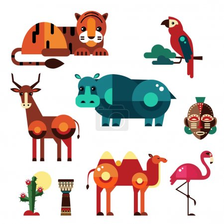 Geometric flat African animals and plants vector...