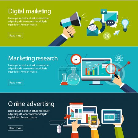 Illustration for Management digital marketing srartup planning analytics creative team design pay per click seo social media analysis actions and development launch. Banners for websites flar design style - Royalty Free Image