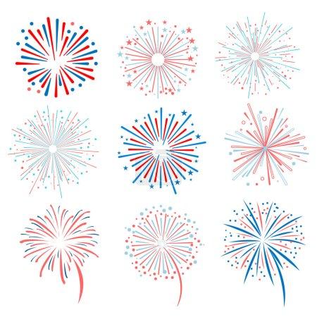 Vector set fireworks on white background