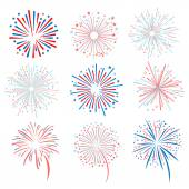 vector fireworks on white