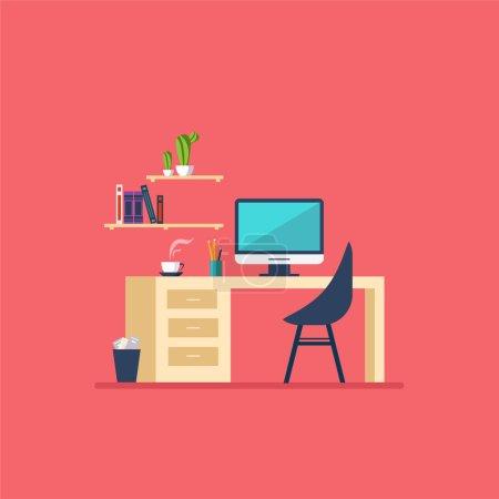 Illustration for Working Place Modern Office Interior Flat Design Vector Illustration - Royalty Free Image
