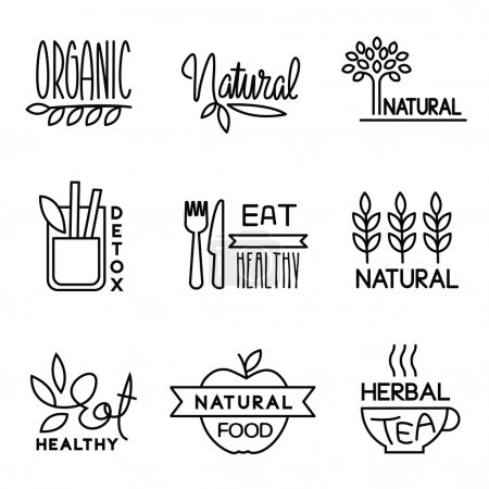 Illustration for Vector labels in trendy mono line style - premium quality organic and natural badges for fresh farm products and food packaging - set of linear emblems and icons - Royalty Free Image