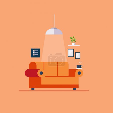 Illustration for Modern Design Interior with Sofa living-room - Royalty Free Image
