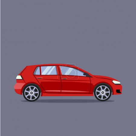 Illustration for Vector red car flat style illustration concept - Royalty Free Image