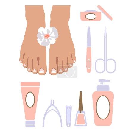 Photo for Vector set of pedicure tools, feet, cosmetics, nail polish, and spa pedicure logo. - Royalty Free Image