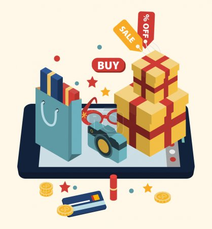 Photo for Isometric illustration of online shopping with laptop and icons - Royalty Free Image