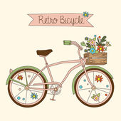 Retro bicycle with karzinkoy for flowers  hand-drawn Vector illustration
